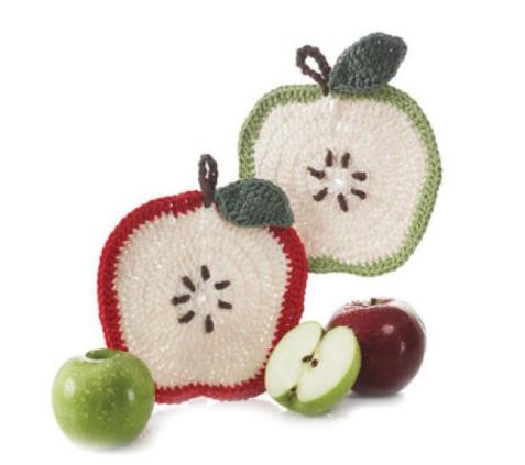 schoenstricken.de | Apfel Topflappen gehäkelt