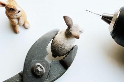 Ostern Hasen Kartenhalter basteln