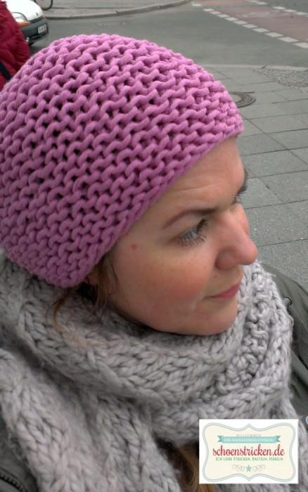 Einfache Mütze aus dickem Baumwollgarn stricken - schoenstricken.de