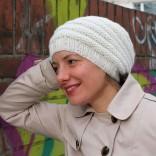 DIY Strickkit Schneeflocke Mütze weiß Kaschmir - schoenstricken.de