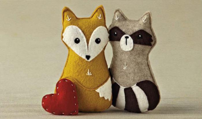 Fuchs und Waschbär aus Filz naähen - schoenstricken.de