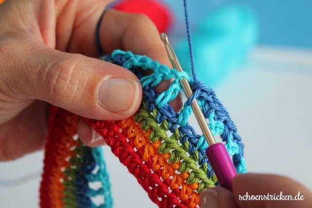 6. Reihe Regenbogen Babydecke CAL - schoenstricken.de