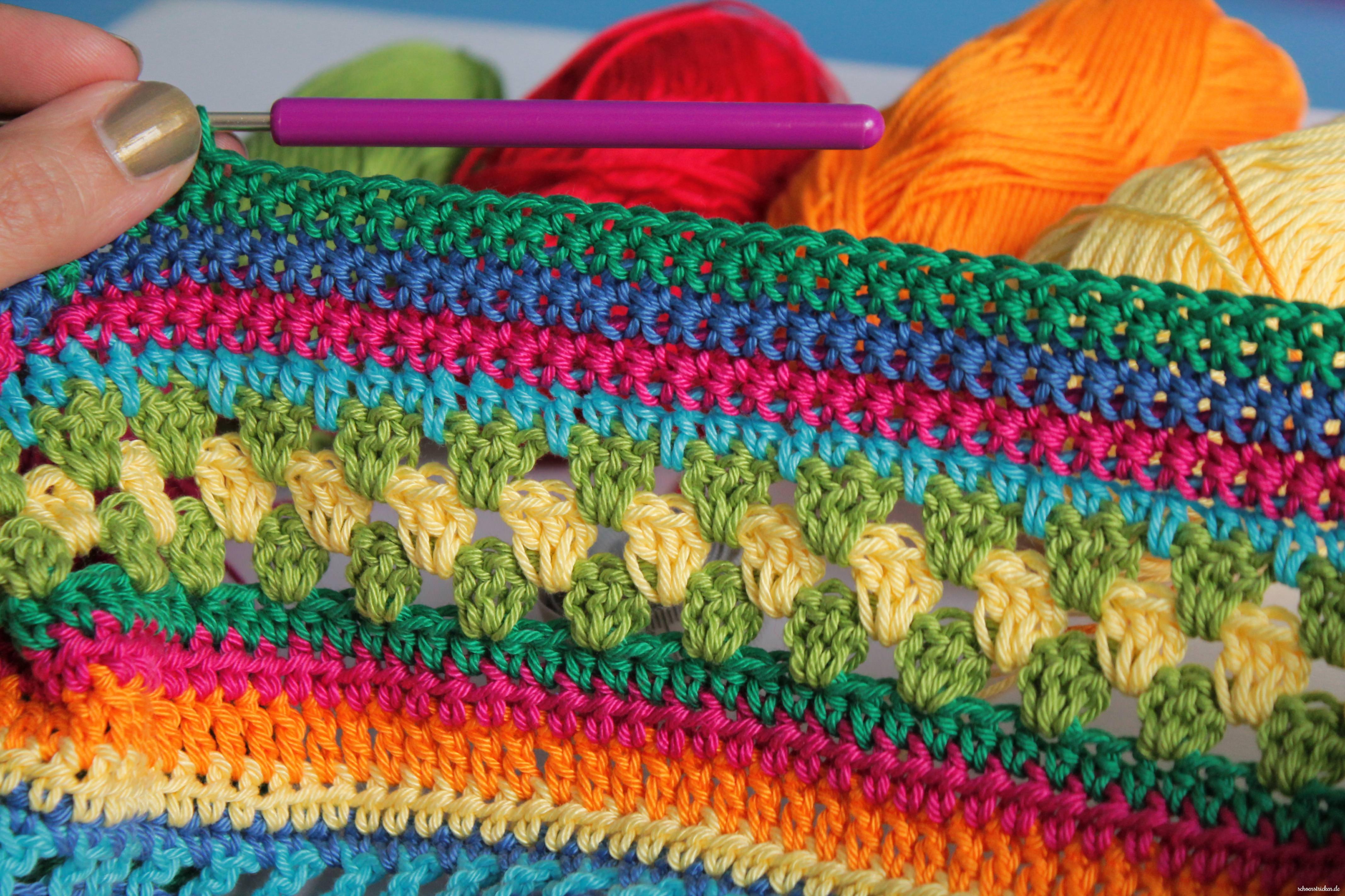 schoenstricken.de | cal Regenbogen-Babydecke, Teil 2