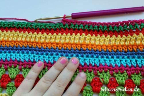 Crochet Along Babydecke Teil 11 Reihe 6 - schoenstricken.de