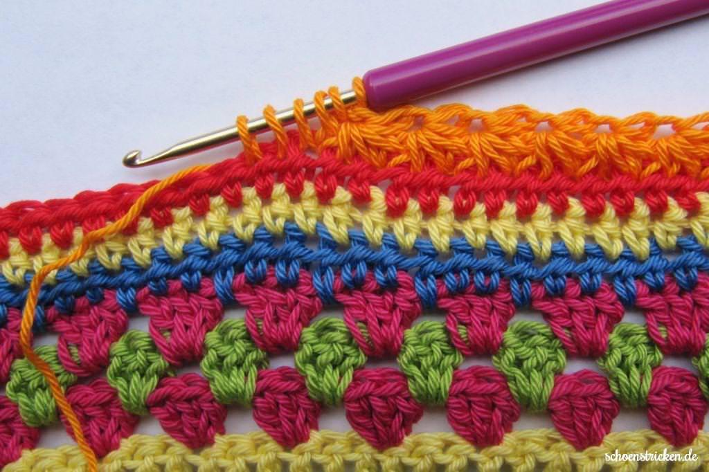 crochet along regenbogen babydecke teil 8. Black Bedroom Furniture Sets. Home Design Ideas