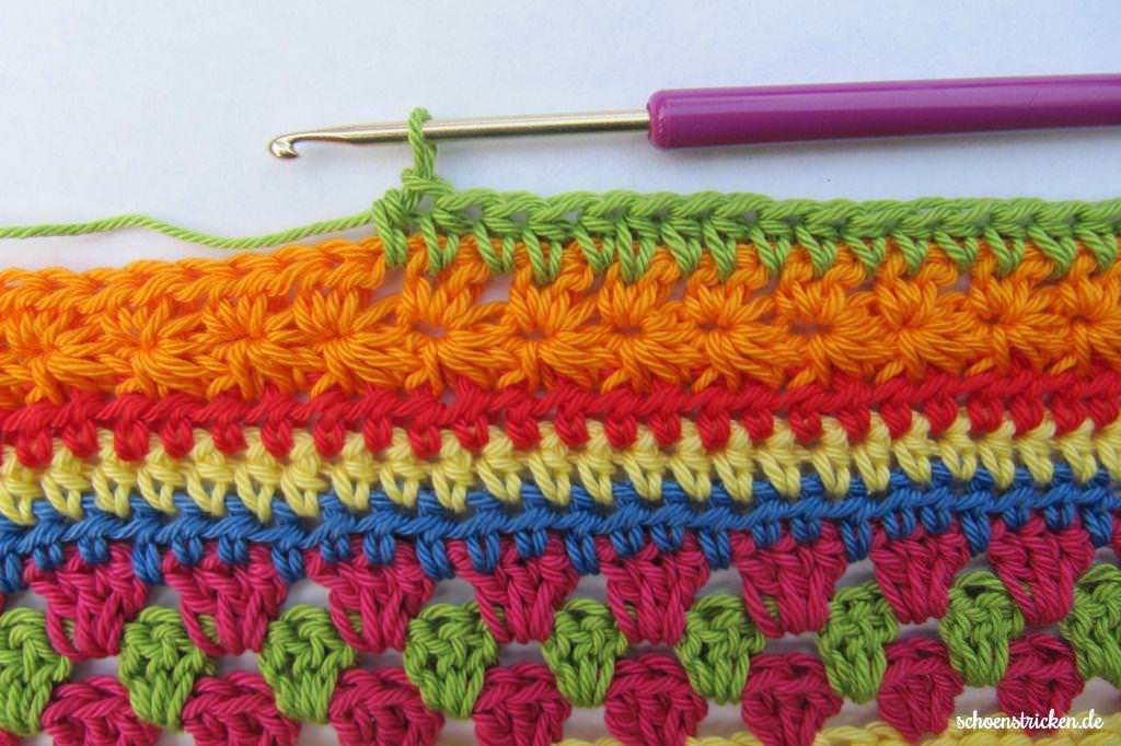 schoenstricken.de | Crochet Along Regenbogen-Babydecke Teil 8