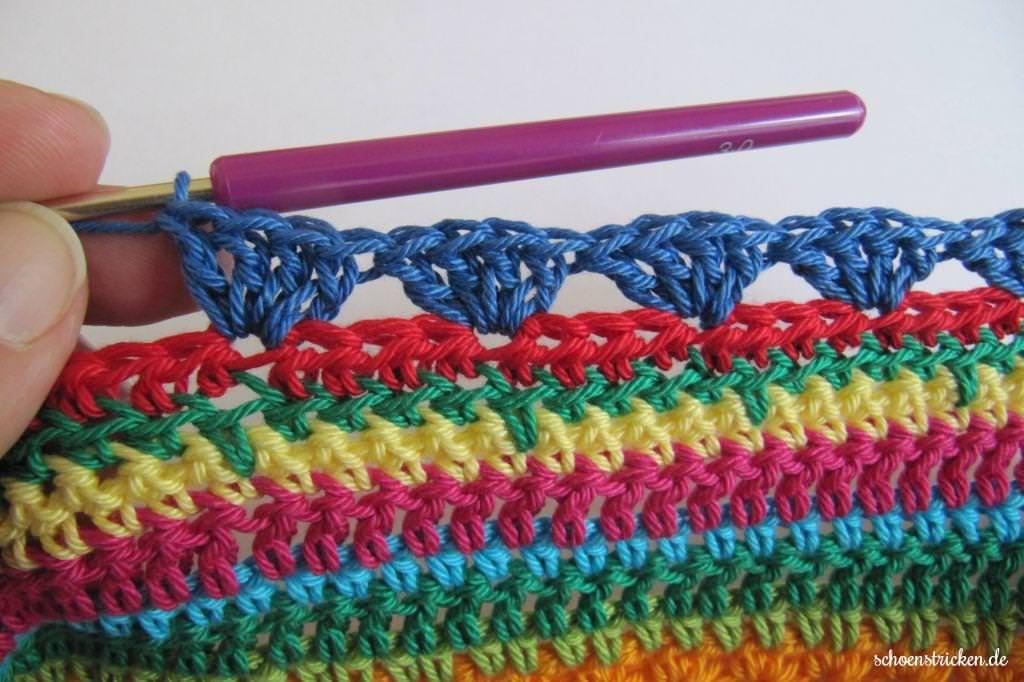 schoenstricken.de | Crochet Along Regenbogen Babydecke Teil 9