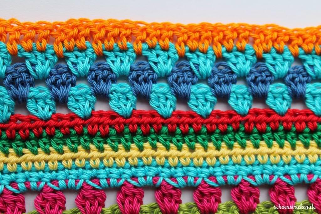 Schoenstrickende Crochet Along Regenbogen Babydecke Teil 5