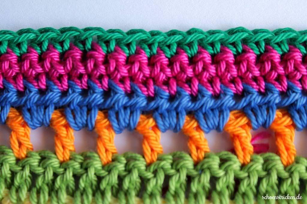 schoenstricken.de | Crochet Along Regenbogen Babydecke Teil 6