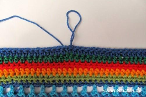 Crochet Along Babydecke Umrandung blau Ende - schoenstricken.de