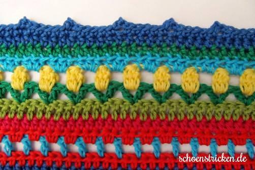 Crochet Along Babydecke Umrandung blau picot - schoenstricken.de