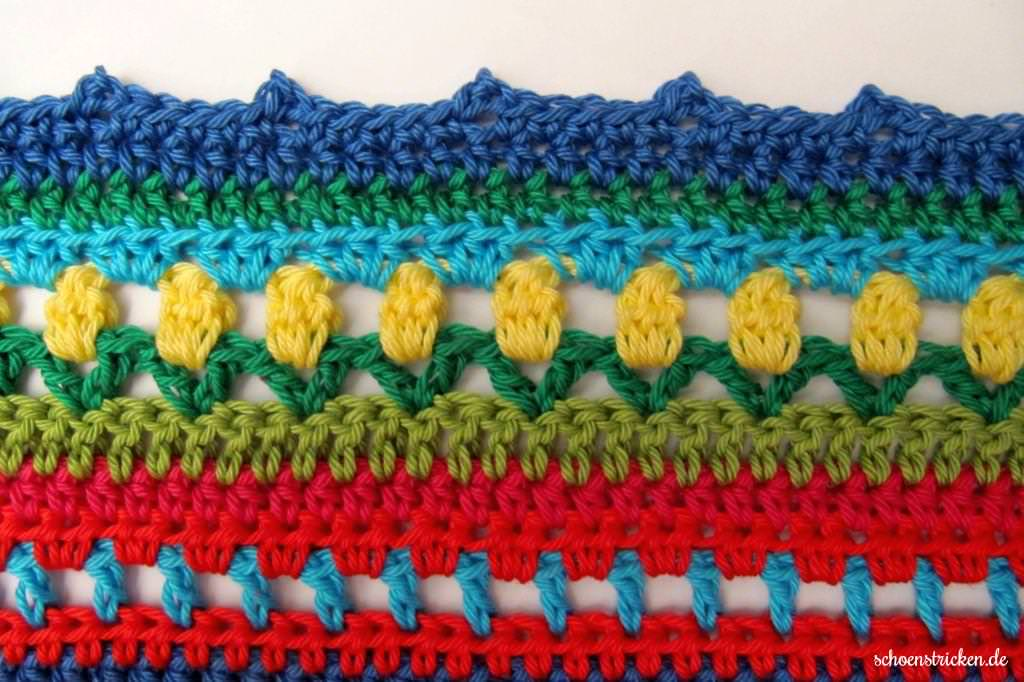schoenstricken.de | Crochet Along Regenbogen Babydecke Teil 13
