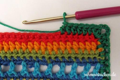 Crochet Along Babydecke Umrandung grün Ecke - schoenstricken.de