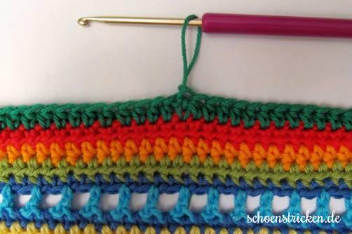Crochet Along Babydecke Umrandung grün Ende - schoenstricken.de