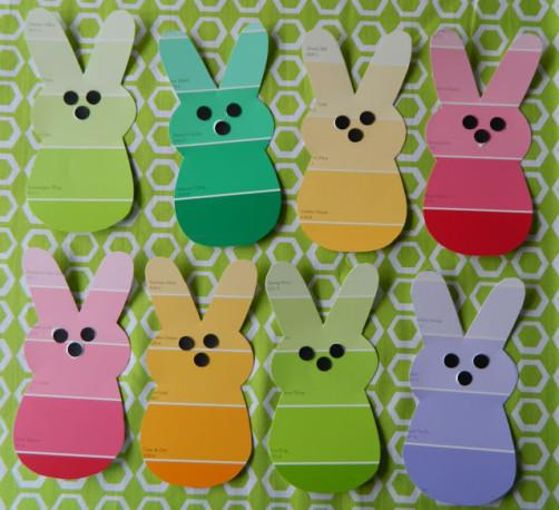 Farbkarten Hasen ausschneiden schoenstricken.de