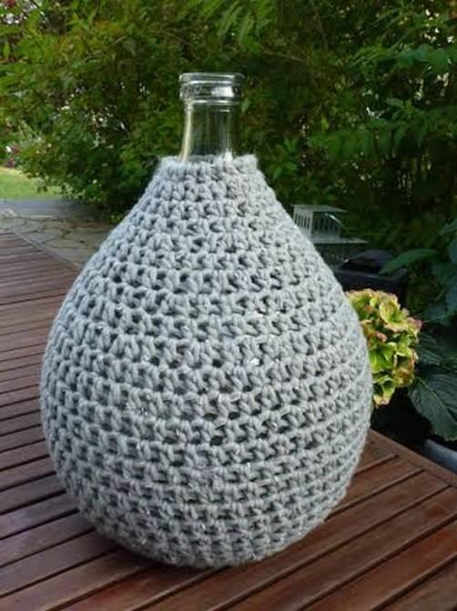 Flaschenhülle häkeln von Claudia