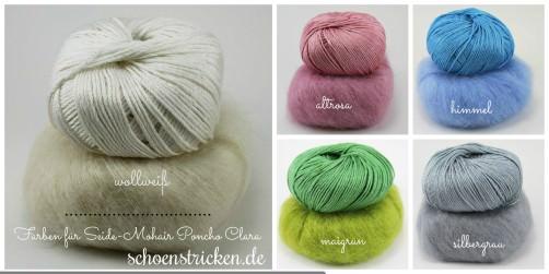 Farbauswahl Seide Mohair Poncho Strickkit Clara 1 schoenstricken.de