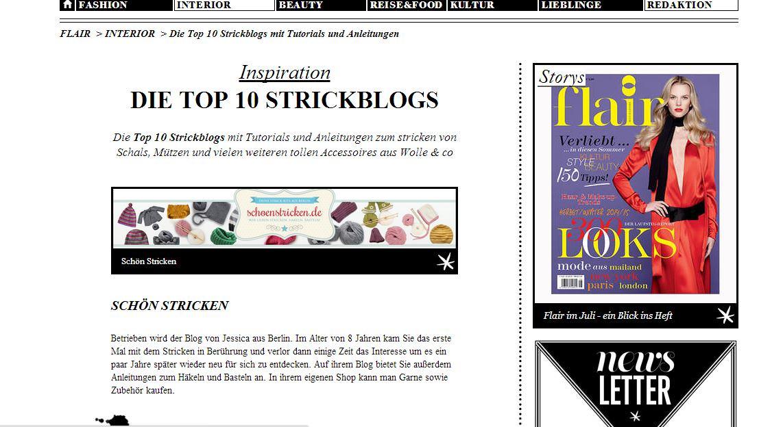 Top Ten Strickblogs schoenstricken.de
