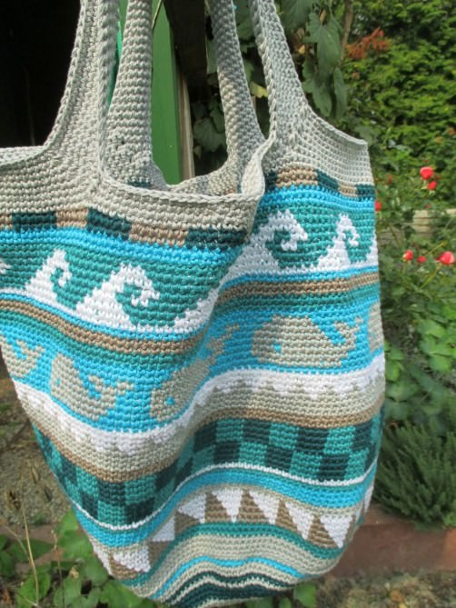 Crochetalong Häkeltasche Sand und Meer von Angelika schoenstricken.de