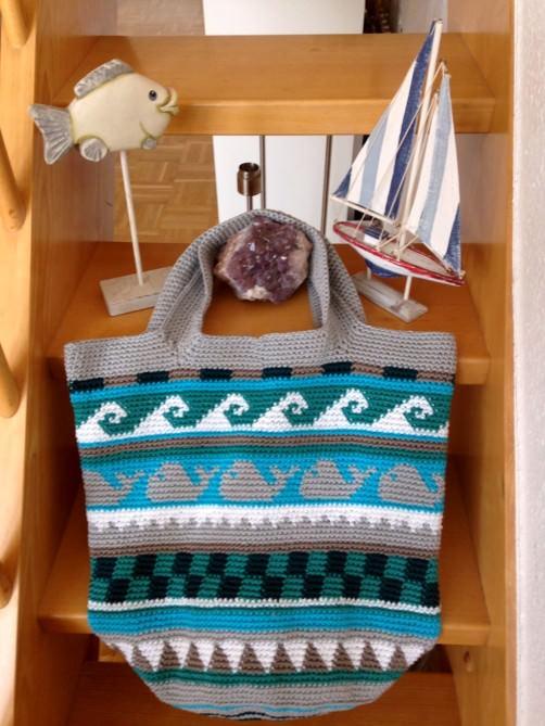 Crochetalong Häkeltasche Sand und Meer von Astrid schoenstricken.de