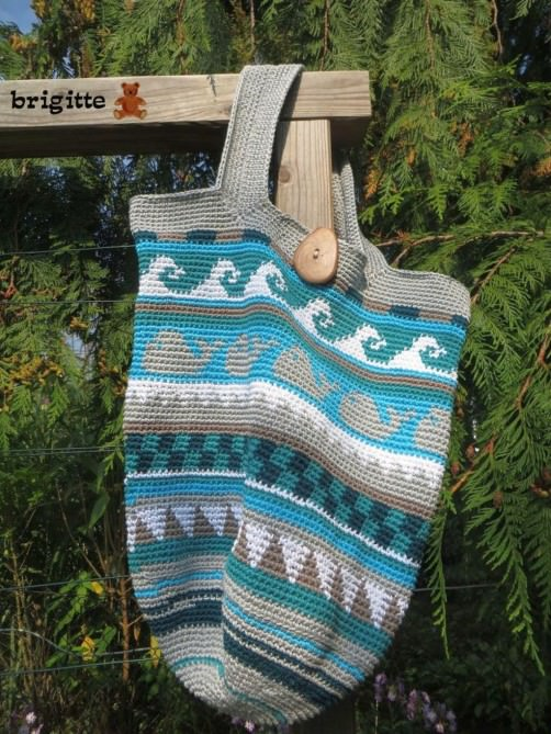 Crochetalong Häkeltasche Sand und Meer von Brigitte schoenstricken.de