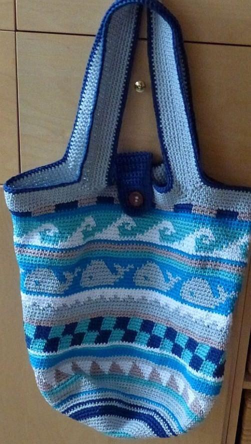 Crochetalong Häkeltasche Sand und Meer von Ines schoenstricken.de