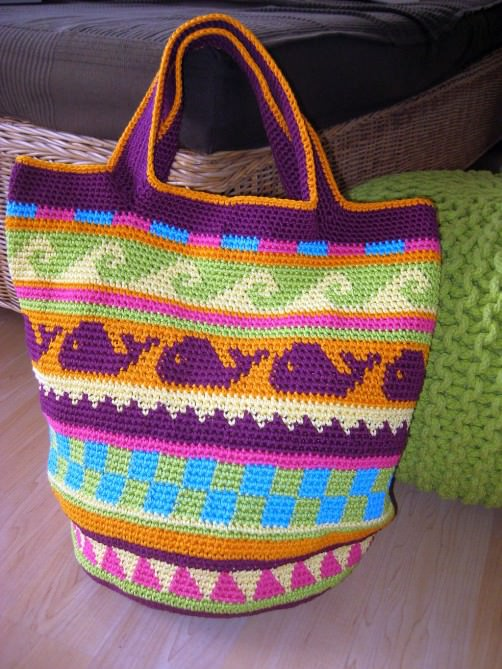 Crochetalong Häkeltasche Sand und Meer von Liz schoenstricken.de
