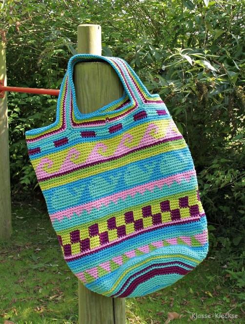 Crochetalong Häkeltasche Sand und Meer von Uschi schoenstricken.de