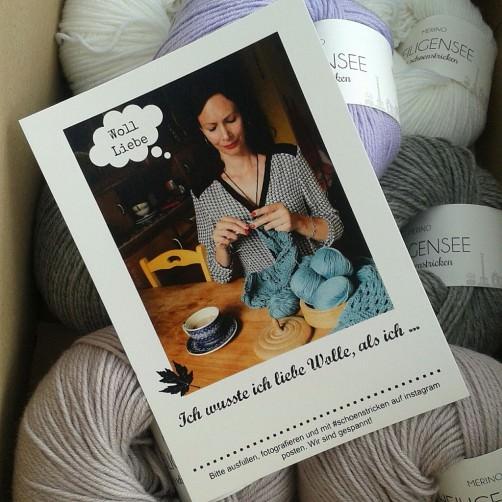 Postkarte Warum liebe ich Wolle von schoenstricken.de