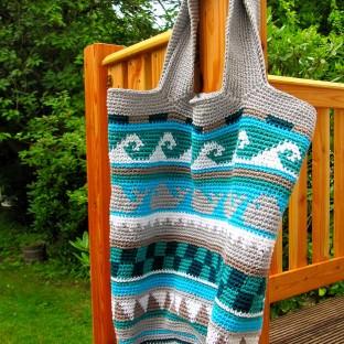 Taschen Crochetalong Sand und Meer Häkeltasche schoenstricken.de
