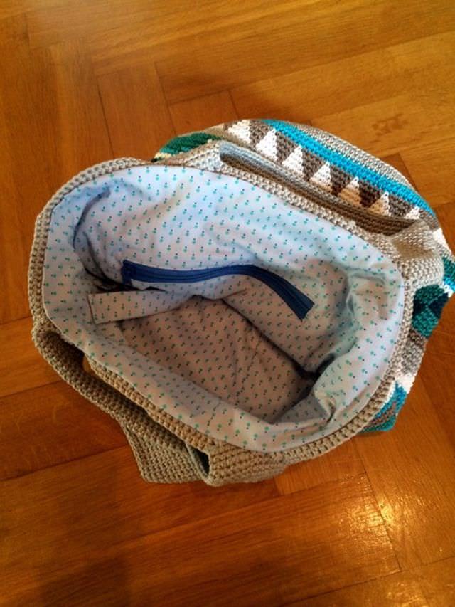 Innentasche für Sand und Meer Tasche nähen 1 schoenstricken.de