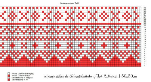 Advents-Knit-Along Norwegermusterkissen Teil 2 Muster 1 50x50cm schoenstricken.de