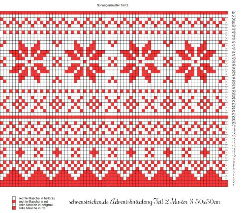 Advents-Knit-Along Norwegermusterkissen Teil 2 Muster 3 50x50cm