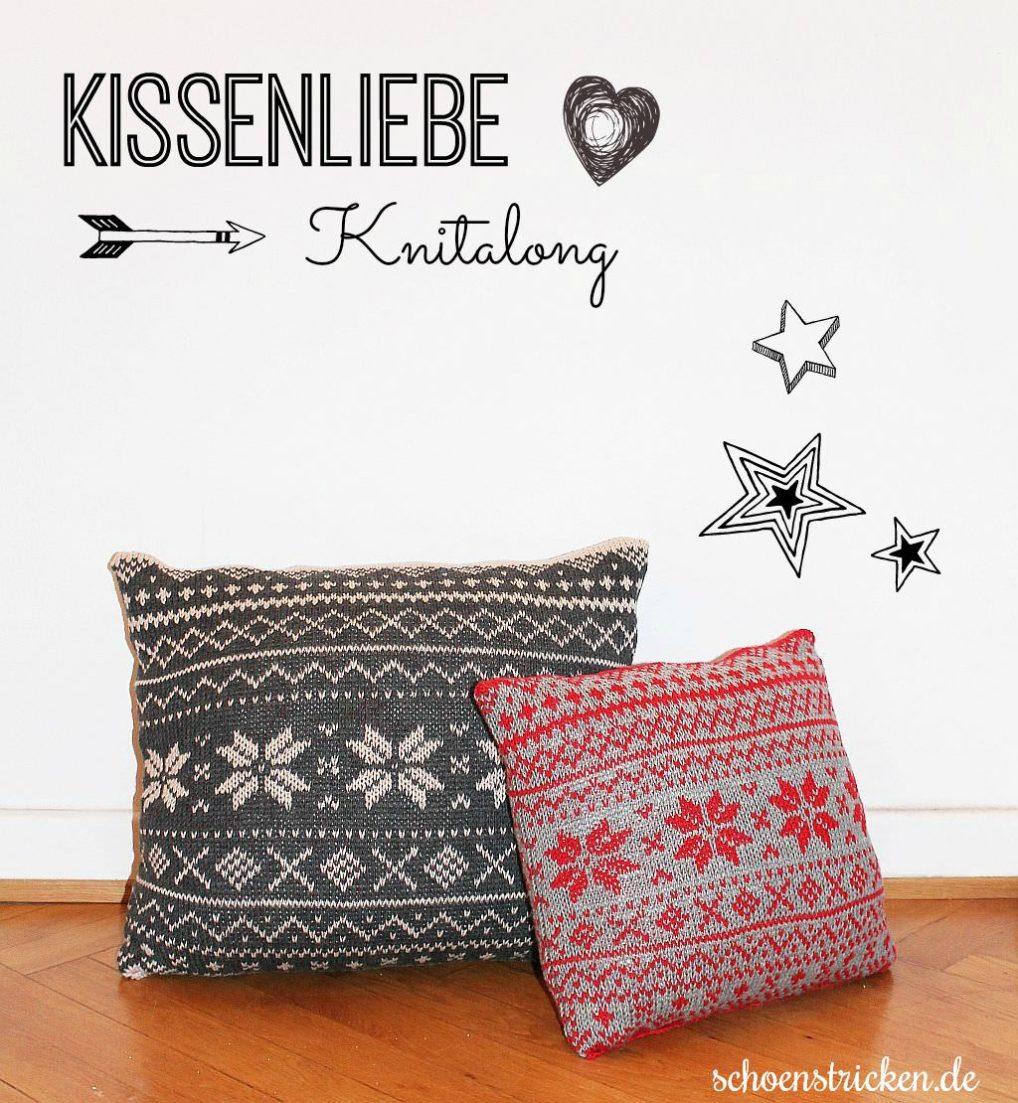 Adventsknitalong Norwegermuster Kissen stricken1  schoenstricken.de