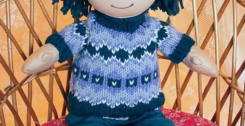 schoenstricken.de | Puppen Pullover im Norwegermuster stricken