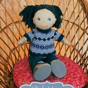 Puppen Pullover im Norwegermuster stricken