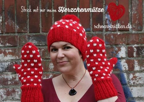 Herzchenmütze stricken 1 schoenstricken.de