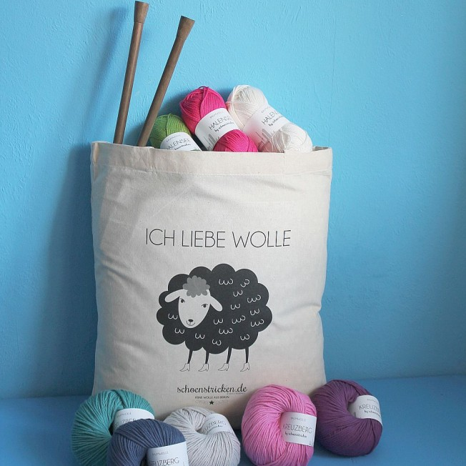 Tasche Ich liebe Wolle sw  schoenstricken.de