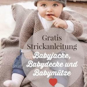 Eine Babyjacke, Mütze und Decke stricken