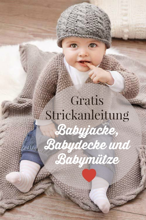 eine babyjacke m tze und decke stricken. Black Bedroom Furniture Sets. Home Design Ideas