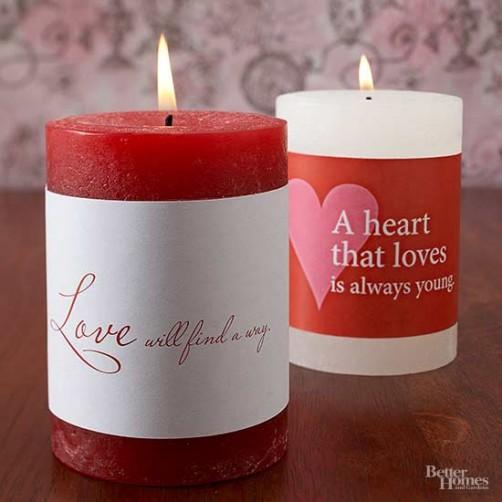 Valentinstags Deko Kerzen mit Aufschrift drucken schoenstricken.de
