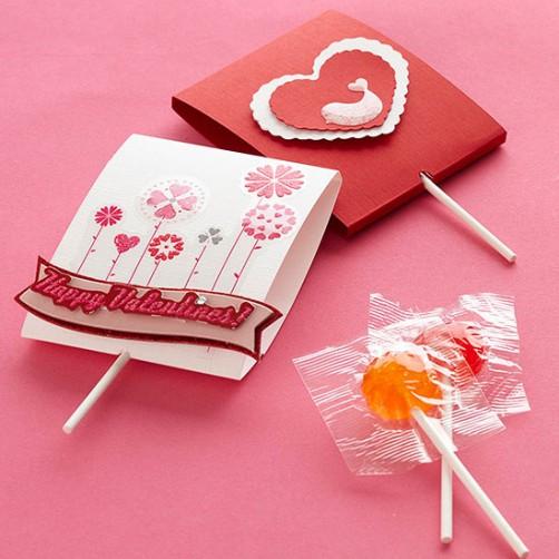 Valentinstags Karten mit Lollies basteln schoenstricken.de