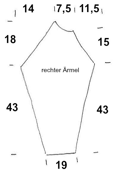 Schnitt Ärmelrechts Knit Along Größe 36