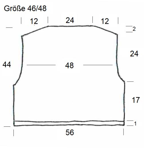 Schnitt Bolero mit Herz Rückenteil Größe 46-48