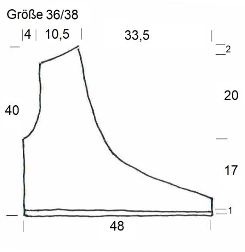 Schnitt Bolero mit Herz rechtes Vorderteil Größe 36-38