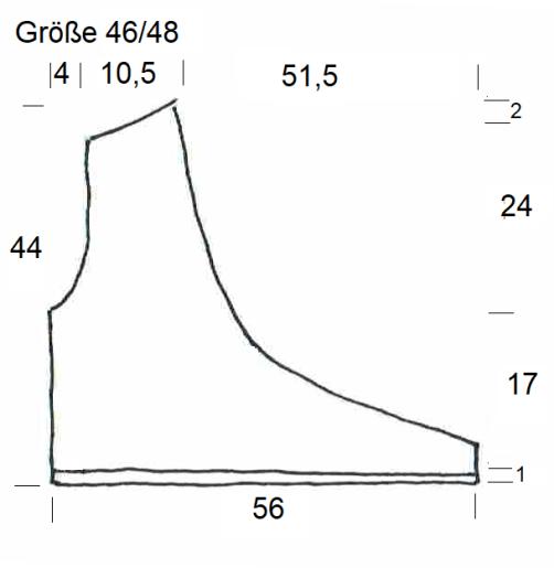 Schnitt Bolero mit Herz rechtes Vorderteil Größe 46-48