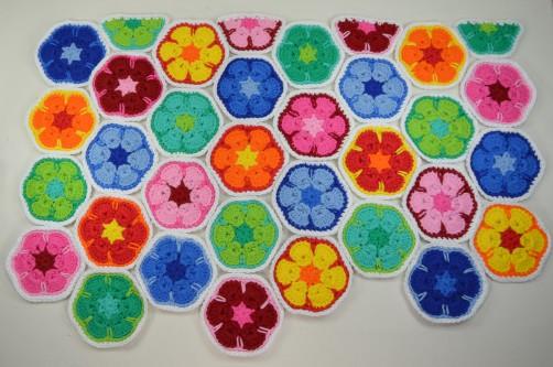 schoenstricken CAL Tasche African Flower Farbmuster