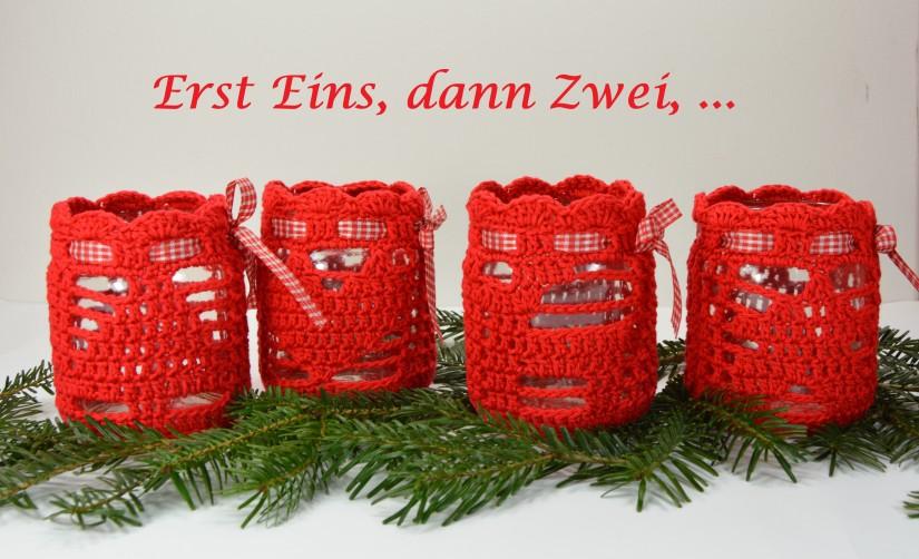 schoenstricken.de Weihnachtswindlicht Erst Eins, dann Zwei, ...
