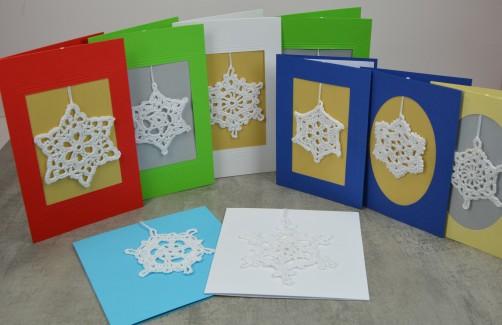 Häkelsterne für Weihnachtskarte