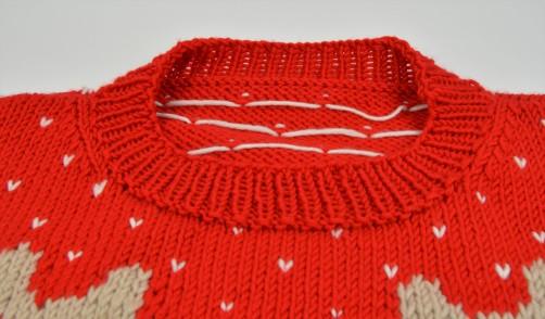 Weihnachtspullover Knitalong Halsausschnittbündchen